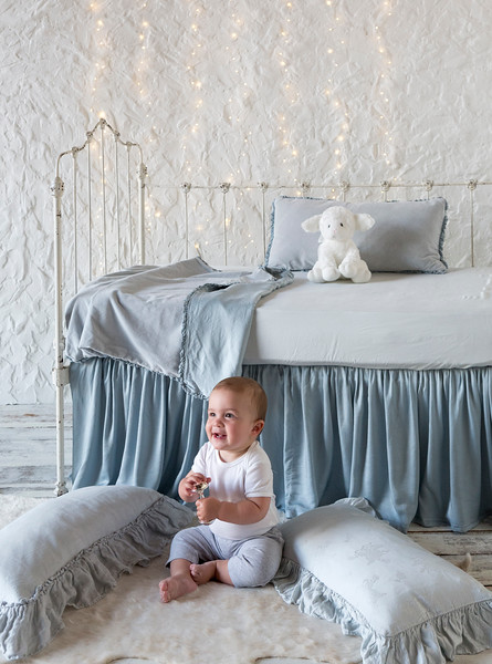 Helane Accent Pillow in Cloud, Helane Baby Blanket in Cloud, Madera Luxe Crib Sheet in Cloud, Satin Crib Skirt in Cloud, Linen Whisper Kidney in Cloud, Isabella Accent Pillow in Cloud
