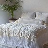 Seville Embroidered Deluxe Shams In Winter White, Valentina Bolster In Winter White, Seville King Coverlet In White, Valentina Wedding Blanket In Winter White,