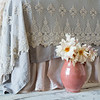 Olivia Bed Scarf In Sand, Seville Coverlet In Fog, Linen Queen Bed Skirt In Pearl