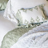 Isabella Standard Pillowcases In Thyme, Olivia Linen Standard Pillowcases In White, Olivia Boudoir In Thyme over Linen Boudoir In White, Isabella Queen Duvet Cover In White, Antonia Bed Scarf In White, Antonia Bed Scarf In Thyme