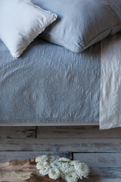Florence Deluxe Sham In Mineral, Helane Kidney Pillow In Winter White, Florence Queen Coverlet In Mineral, Linen Queen Flat Sheet In Winter White