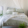 Isabella Euros Shams In White, Isabella Standard Pillowcases In Thyme, Olivia Linen Standard Pillowcases In White, Antonia Standard Pillowcases In Thyme, Olivia Boudoir In Thyme over Linen Boudoir In White, Isabella Queen Duvet Cover In White, Antonia Bed Scarf In White, Olivia Bed Scarf In White, Antonia Bed Scarf In Thyme, Olivia Curtain Panels In White