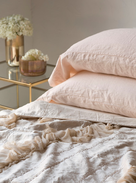 Linen King Pillowcases In Pearl, Valentina Wedding Blanket In Pearl