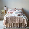 Marseille Deluxe Shams in Pearl, Pennelope Standard Shams in Champagne, Satin with Venise Lace King Pillowcases in Heirloom Rose, Loulah Bolster in Heirloom Rose, Satin with Venise Lace Standard Pillowcase in Champagne, Pennelope Boudoir in Heirloom Rose, Pennelope Personal Comforter in Champagne, Marseille Queen Coverlet in Pearl, Satin Queen Bed Skirt in Pearl