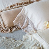Olivia Linen Standard Pillowcases In Pearl, Loulah Kidney Pillow In Pearl, Valentina Kidney Pillow In Pearl, Olivia Bed Scarf In Sand, Seville Coverlet In Fog