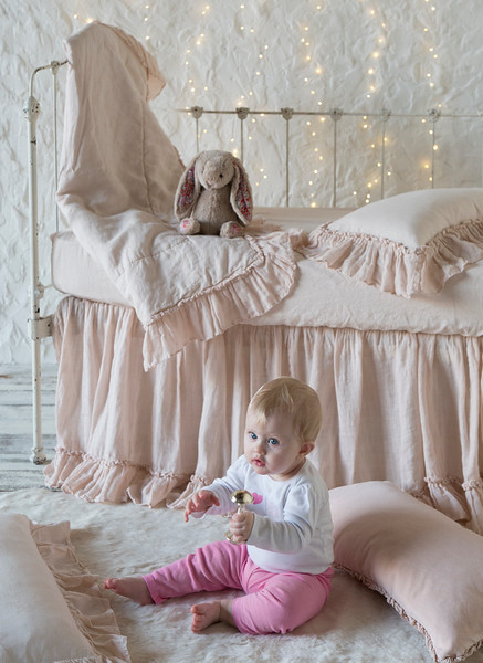 Linen Whisper Baby Comforter in Pearl, Linen Whisper Crib Skirt in Pearl, Linen Crib Sheet in Pearl, Linen Whisper Kidney Pillow in Pearl, Helane Accent in Pearl