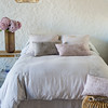 Seville Euro Shams In Pebble,  Josephine Linen Standard Pillowcases In White, Linen with Crochet Lace Standard Pillowcase In White, Linen Queen Flat Sheet In White, Josephine Linen Queen Duvet Cover In Pebble, Seville Queen Bed Skirt In Pebble, Seville Embroidered Accent Pillows In Powder, Seville Embroidered Accent Pillow In Fog