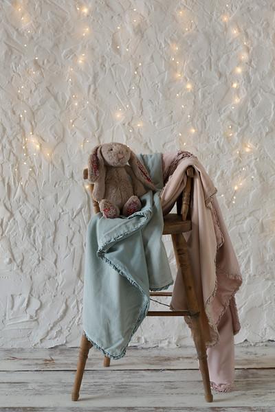 Helane Baby Blanket in Seaglass, Helane Baby Blanket in Pearl, Helane Baby Blanket in Heirloom Rose