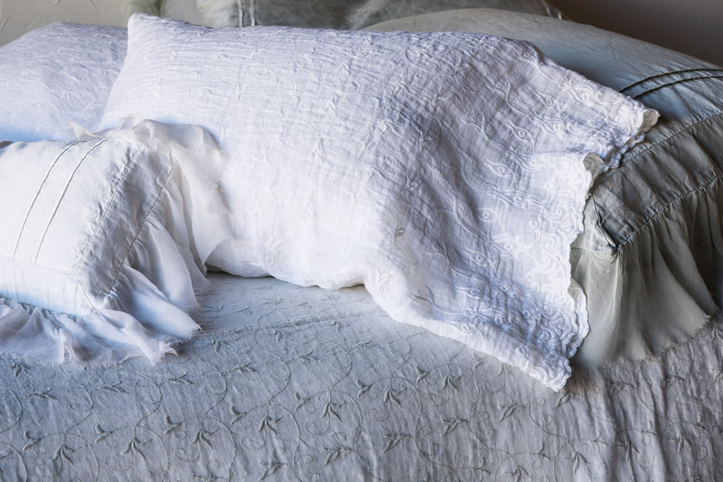 Valentina Deluxe Shams In Cloud, Antonia Standard Pillowcases In White <br /> Antonia Queen Coverlet In Cloud, Valentina Kidney Pillow In White