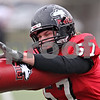 Beck Diefenbach  -  bdiefenbach@daily-chronicle.com<br /> <br /> Northern Illinois linebacker Zach Larson (57) during practice at Huskie Stadium in DeKalb, Ill., on Tuesday April 14, 2009.