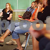 Beck Diefenbach  -  bdiefenbach@daily-chronicle.com<br /> <br /> Marcia Johnson, of Freeport, asks a question during an orientation tour for parents of incoming students at Northern Illinois University in DeKalb, Ill., on Tuesday June 16, 2009. Johnson's daughter, Mackenzie, will be attending the University in the fall for health administration.