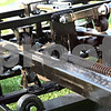 Beck Diefenbach  -  bdiefenbach@daily-chronicle.com<br /> <br /> The most intricate part of the cut block sled is the cluster of castors which allow the pad to swing down.