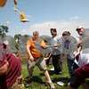Beck Diefenbach  -  bdiefenbach@daily-chronicle.com<br /> <br /> Pieces of pie fly over heard during the world's largest pie fight in Genoa, Ill., on Saturday June 13, 2009. Over 200 people participated.