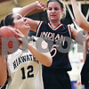 Beck Diefenbach  -  bdiefenbach@daily-chronicle.com<br /> <br /> Hiawatha's Aubrey Leonard (12) is surrounded by Indian Creek's Lindsay Richardson (25, center) and Jenna Holm (24) during the second quarter of the game at Hiawatha High School in Kirkland, Ill., on Monday Jan. 12, 2008.
