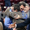 Beck Diefenbach – bdiefenbach@daily-chronicle.com<br /> <br /> Hinckley-Big Rock's athletic director Bill Sambrookes, right, congratulates head coach Greg Burks after defeating Winchester West Central in the Class 1A State Championship at the Redbird Arena in Normal, Ill., on Saturday Feb. 28, 2009.