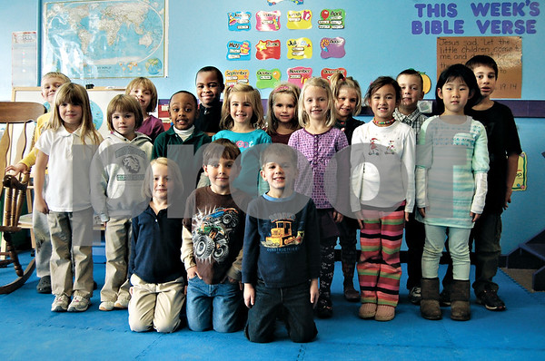 Daily Chronicle<br /> Pictured is Julie Bartels' all-day kindergarten class at Cornerstone Christian Academy.