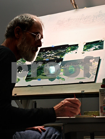 Beck Diefenbach  -  bdiefenbach@daily-chronicle.com<br /> <br /> Professional artist James Winn works on his realist painting of lotus lilies from the Mississippi River in the studio of his Sycamore home on Wednesday October 21, 2009. Winn now paints smaller versions of his other paintings which are more likely to sell in this tough economy.