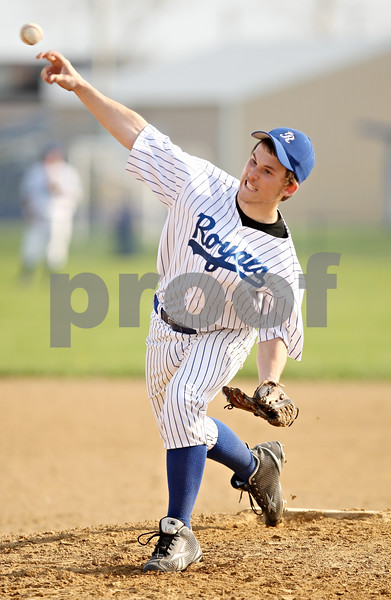 Beck Diefenbach  -  bdiefenbach@daily-chronicle.com<br /> <br /> Hinckley-Big Rock pitcher Aaron Ward (23) throws the ball during the fourth inning of the game against Indian Creek High School at HBR High School in Hinckley, Ill., on Tuesday May 5, 2009.