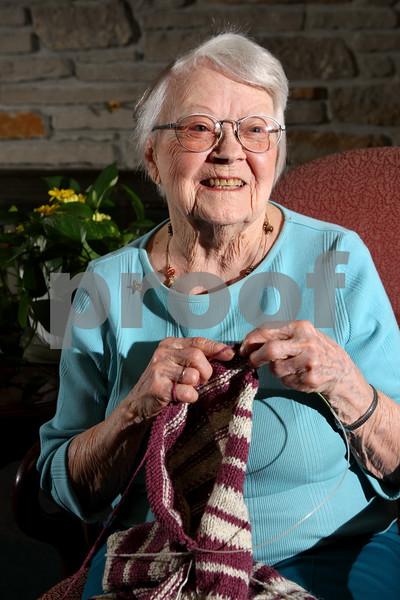 Rob Winner – rwinner@daily-chronicle.com<br /> Mavis Bell, 100, is a resident at Oak Crest in DeKalb. Bell enjoys knitting sweaters and blankets.<br /> 07/30/2009