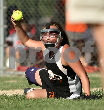 Beck Diefenbach  -  bdiefenbach@daily-chronicle.com<br /> <br /> DeKalb Hurricane's Kate Dellig (75) scans for runners after fielding a ground ball during the game against the Cary Crush in the 10-under portion of Storm Dayz in Sycamore, Ill., on Friday June 26, 2009.
