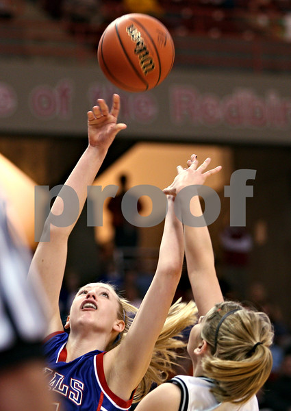 Beck Diefenbach – bdiefenbach@daily-chronicle.com<br /> <br /> Hinckley-Big Rock center Melissa Hermann shoots the ball during the first quarter of the Class 1A IHSA State Basketball Championships against Winchester West Central High School at the Red Bird Arena in Normal, Ill., on Saturday Feb. 28, 2009.