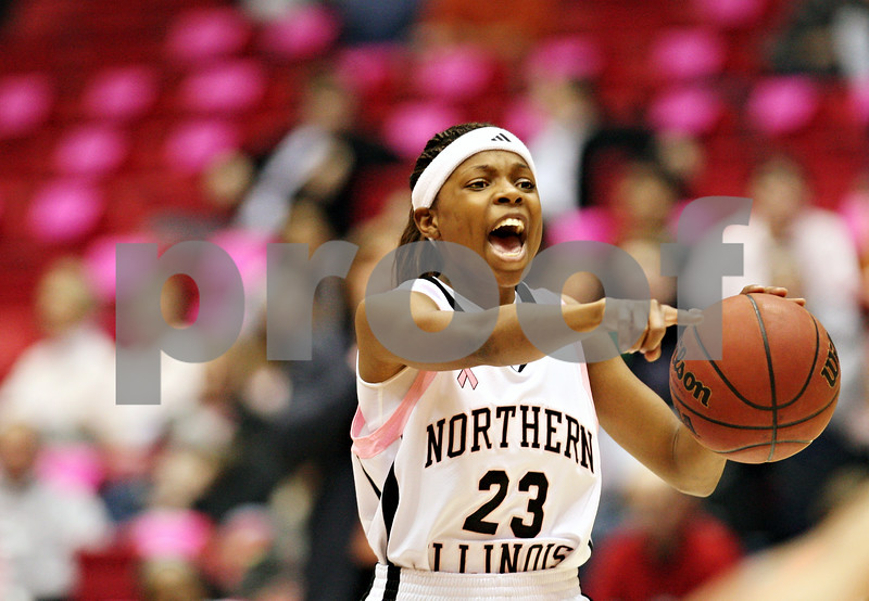 Beck Diefenbach – bdiefenbach@daily-chronicle.com<br /> <br /> Northern Illinois guard Marke Freeman (23) calls out to her teammates during the first half of the game against Toledo at the Convocation Center in DeKalb, Ill., on Tuesday Feb. 24, 2009.