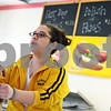 Beck Diefenbach  -  bdiefenbach@daily-chronicle.com<br /> <br /> F and J's cashier Andrea Graziano hands an order to a customer in the new restaurant on Annie Glidden Road in DeKalb, Ill., on Monday March 16, 2009.