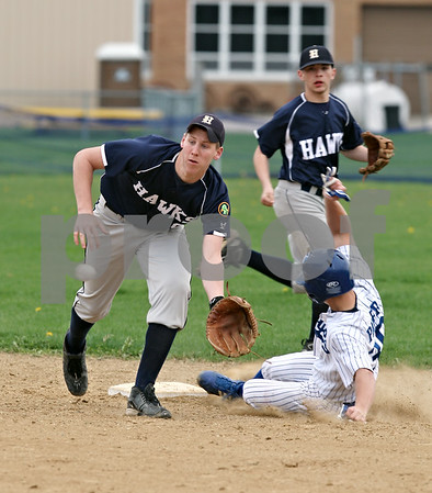 Beck Diefenbach  -  bdiefenbach@daily-chronicle.com<br /> <br /> Hinckley-Big Rock's Jake Paver (36) slides safe into second base before Hiawatha's Floyd Webster (9) makes the catch during the second inning of the game at HBR High School in Hinckley, Ill., on Tuesday April 28, 2009.