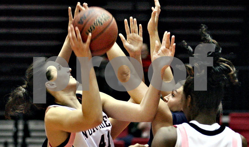 Beck Diefenbach – bdiefenbach@daily-chronicle.com<br /> <br /> Northern Illinois forward Aileen Rossouw(41) shoots the ball during the first half of the game against Toledo at the Convocation Center in DeKalb, Ill., on Tuesday Feb. 24, 2009.