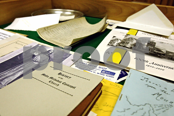 Rob Winner – rwinner@daily-chronicle.com<br /> The Malta United Methodist Church recently opened a time capsule that had been sealed for 50 years which was filled with artifacts and literature from the church.<br /> 11/09/2009