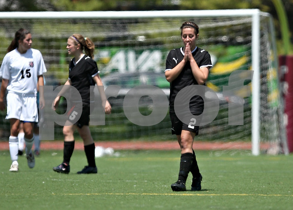 Beck Diefenbach  -  bdiefenbach@daily-chronicle.com<br /> <br /> Sycamore's Nici Newquist (2) reacts following a missed goal shot during the second half of the Class 2A state semifinal game against Wheaton Academy at North Central College in Naperville, Ill., on Friday June 5, 2009. Sycamore lost to Wheaton Academy 5-2 and will face Chatham Glenwood for third place on Saturday.