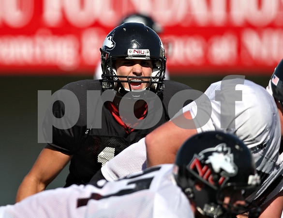 Beck Diefenbach  -  bdiefenbach@daily-chronicle.com<br /> <br /> Quarterback Chandler Harnish (12) during practice at Huskie Stadium of Northern Illinois University in DeKalb, Ill., on Tuesday Sept. 1, 2009.