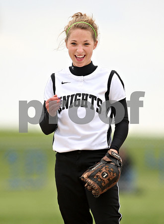 Beck Diefenbach  -  bdiefenbach@daily-chronicle.com<br /> <br /> Kaneland's Delaney Vest smiles in between batters during the second inning of the game against Hampshire at Burlington Central High School in Burlington, Ill., on Thursday May 28, 2009.