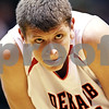 Beck Diefenbach  -  bdiefenbach@daily-chronicle.com<br /> <br /> DeKalb's Jordan Threloff (42) makes a face after being fouled by a Hampshire's (44, not pictured) during the fourth quarter of the game at DeKalb High School on Tuesday Dec. 22, 2009. DeKalb defeated Hampshire 58 to 50.