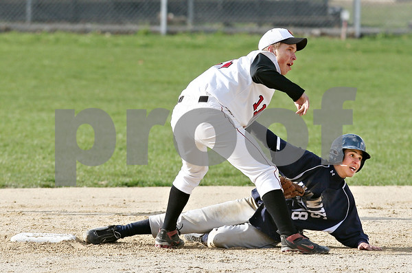 Beck Diefenbach  -  bdiefenbach@daily-chronicle.com<br /> <br /> Indian Creek's Reece Bend (11) and Hiawatha's Geo Andujar (18) look for the call from the umpire during the fourth inning of the game at Indian Creek High School in Shabbona, Ill., on Monday April 20, 2009. Bend made the out to end the top half of the inning.