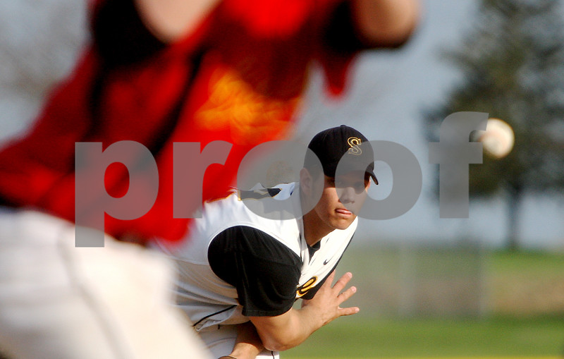 Rob Winner – rwinner@daily-chronicle.com<br /> Sycamore pitcher Nathan Harbecke delivers a pitch in the fifth inning during a game on Friday against Batavia.<br /> 04/24/2009