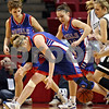 Beck Diefenbach – bdiefenbach@daily-chronicle.com<br /> <br /> Hinckley-Big Rock's Tess Godhardt, left, and Kaitlin Phillips, right, watch as Jenna Thorp, center, loses sight of the ball during the third quarter of the Class 1A State Championship against Winchester West Central at the Redbird Arena in Normal, Ill., on Saturday Feb. 28, 2009.