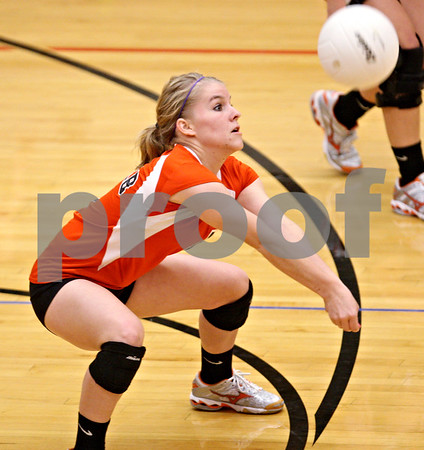 Beck Diefenbach – bdiefenbach@daily-chronicle.com<br /> <br /> DeKalb's Abby Roberts (1) returns the ball during the first period of the game against Kaneland at Kaneland High School in Maple Park, Ill., on Saturday Sept. 19, 2009.