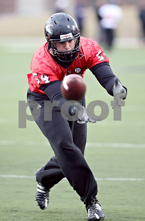 Beck Diefenbach  -  bdiefenbach@daily-chronicle.com<br /> <br /> Northern Illinois' Jake Coffman (54) during practice at NIU's Huskie Stadium in DeKalb, Ill., on Tuesday March 24, 2009.