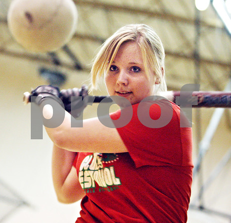 Beck Diefenbach  -  bdiefenbach@daily-chronicle.com<br /> <br /> DeKalb's Kristen Roenfanz keep her eye on the ball during practice at DeKalb High School in DeKalb, Ill., on Monday March 30, 2009.