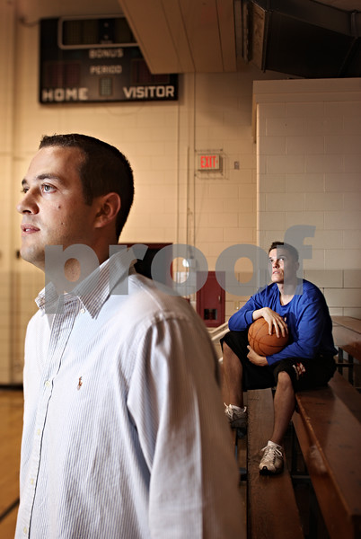 Beck Diefenbach  -  bdiefenbach@daily-chronicle.com<br /> <br /> Former Malta High School basketball players Luke Phelps and Chad Pecka (right).