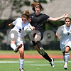 Beck Diefenbach  -  bdiefenbach@daily-chronicle.com<br /> <br /> Sycamore's Karissa Miller (right) and Wheaton Academy's Lindsey Burke (3) battle for the ball during the first half of the Class 2A state semifinal game at North Central College in Naperville, Ill., on Friday June 5, 2009.