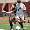 Beck Diefenbach  -  bdiefenbach@daily-chronicle.com<br /> <br /> Wheaton Academy's Lindsey Burke (right) keeps the ball away from Sycamore's Karissa Miller (left) during the first half of the Class 2A state semifinal game at North Central College in Naperville, Ill., on Friday June 5, 2009. Sycamore lost to Wheaton Academy 5-2 and will face Chatham Glenwood for third place on Saturday.