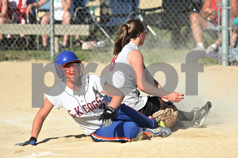 Beck Diefenbach  -  bdiefenbach@daily-chronicle.com<br /> <br /> Genoa-Kingston's Shaina Rogers (9) steals home plate during despite efforts by Forreston's Alyssa Edler (8) during the fourth inning of the game at Stillman Valley, Ill., on Wednesday May 20, 2009.