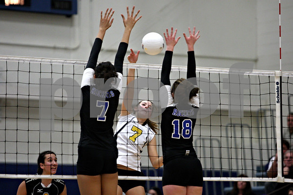 Rob Winner – rwinner@daily-chronicle.com<br /> Sycamore's Brittany Huber looks for a kill during their third game against Burlington Central during the Class 3A Burlington Central Regional on Thursday October 29, 2009.