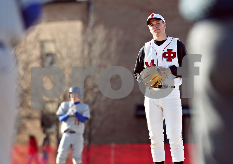 Beck Diefenbach  -  bdiefenbach@daily-chronicle.com<br /> <br /> Indian Creek pitcher Nathan Peterson (14) during the top of the fourth inning against Somonauk at Indian Creek High School in Shabbona, Ill., on Friday April 3, 2009.