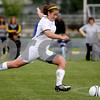 Rob Winner – rwinner@daily-chronicle.com<br /> Sycamore's Briana Henke takes a direct free kick for a goal in the first half during the Class 2A Rochelle Supersectional on Tuesday. Sycamore went on to defeat Peoria Notre Dame 5-0.<br /> 06/02/2009