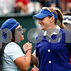 Christina Kim (left) cheers on teammate Brittany Lang at the start of the first round of the Solheim Cup.<br /> Rob Winner rwinner@shawsuburban.com