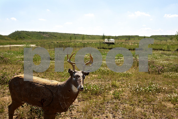 Beck Diefenbach  -  bdiefenbach@daily-chronicle.com<br /> <br /> A fake deer target is part of the archery range at the new Aurora Sportsman Club in Waterman, Ill., on Tuesday June 23, 2009.