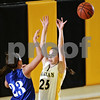 Beck Diefenbach  -  bdiefenbach@daily-chronicle.com<br /> <br /> Sycamore guard Sara Cervenka (25) attempts to block a pass by Geneva guard Taylor Whitley (23) during the third quarter of the game at Sycamore High School in Sycamore, Ill., on Tuesday Feb. 3, 2009. Geneva beat Sycamore 57 to 31.